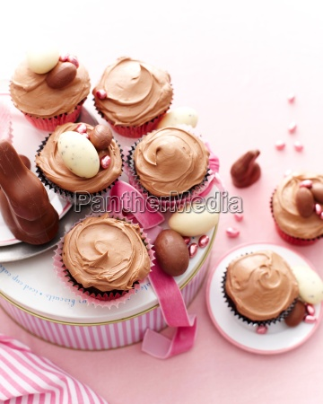 overhead view of chocolate cupcakes covered