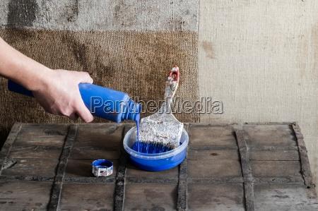 blau hand farbe malen schmutzig dreckig