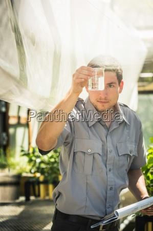 scientist looking at liquid in plant
