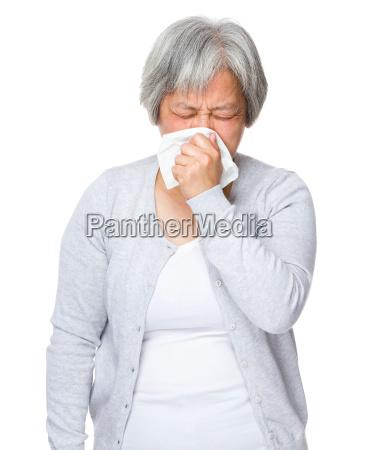 asian old woman feeling sick