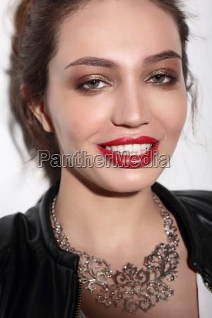 face portrait of smiling woman