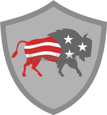 north american bison usa flag shield