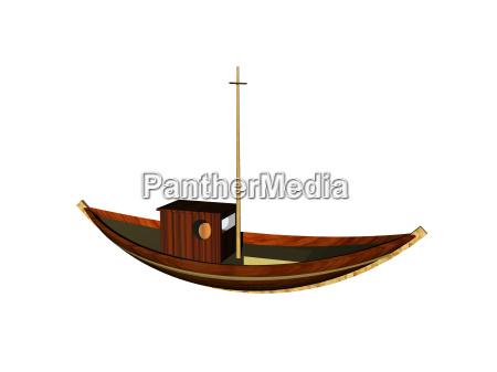 hoelzernes fischerboot freigestellt