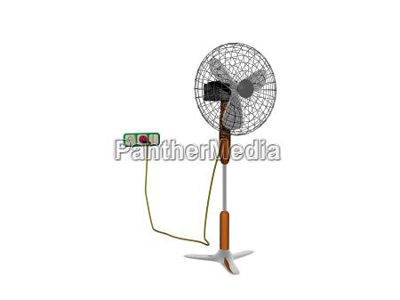 ventilator auf grossen standfuss an steckdose