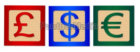 money sign wood blocks