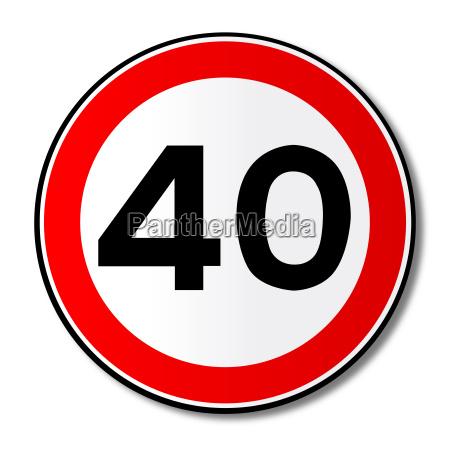 40 mph limit traffic sign