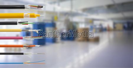 glasfaserkabel detail isoliert auf weiss