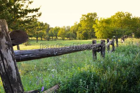alter laendlicher holzzaun auf schoenheit landschaftsansicht