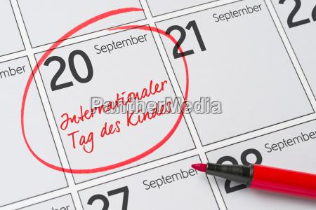 20 september internationaler tag des