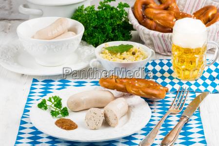 bavarian sausage with pretzel sweet mustard