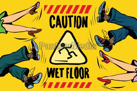 caution wet floor feet of women