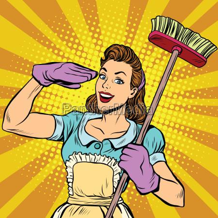 weibliche reiniger reinigungsfirma pop art retro
