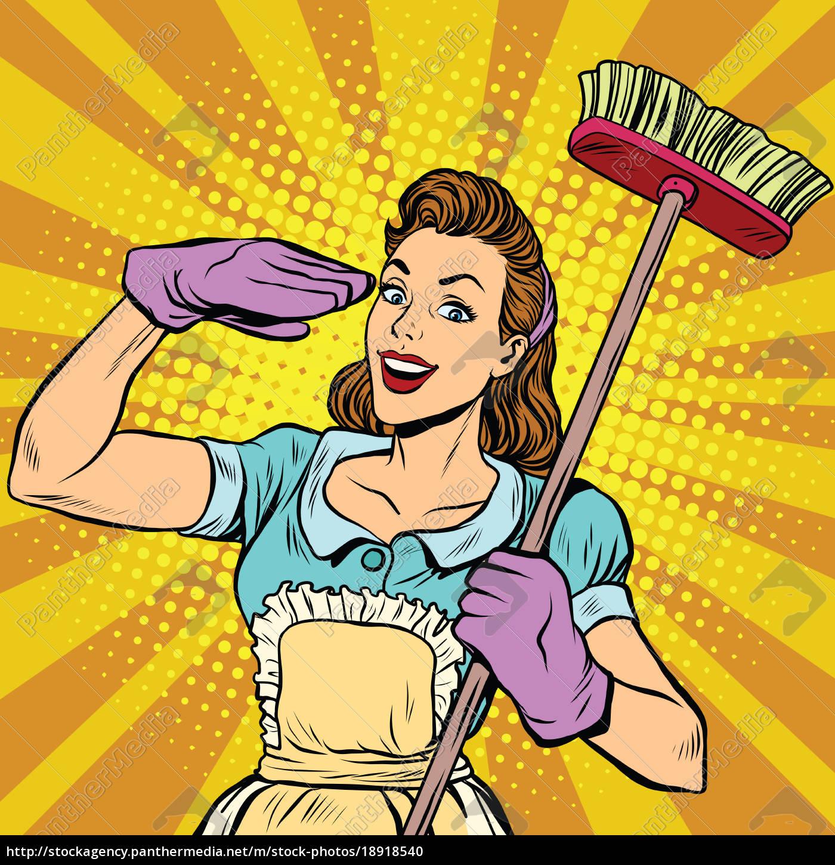 weibliche, reiniger, reinigungsfirma, pop-art, retro - 18918540