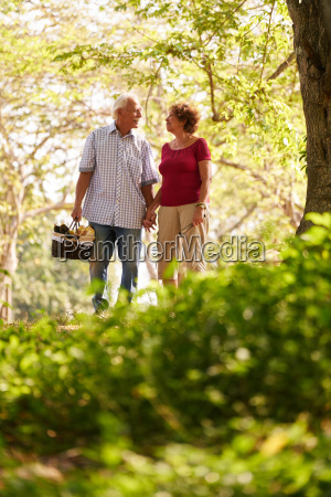 senior man woman old couple walking