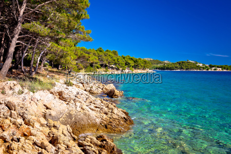 turquoise sea and stone beach view