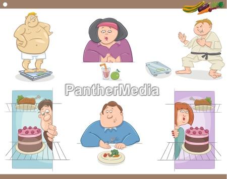 people on diet cartoon set