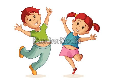 little happy boy and girl jumping