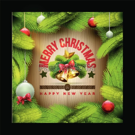 vector christmas objects and message on