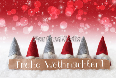 gnomes red background bokeh stars frohe