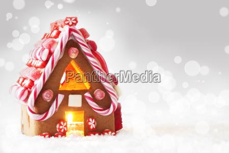 gingerbread house gray bokeh background copy