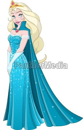 snow princess in blue dress side