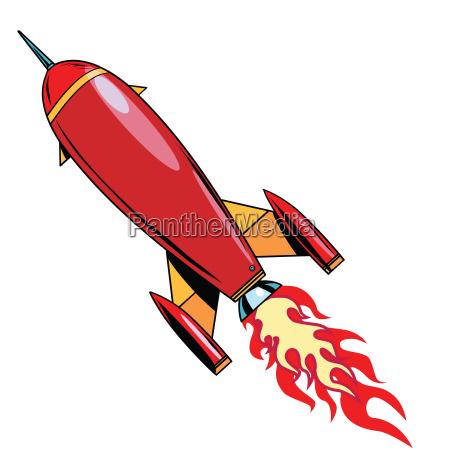 retro rakete steigt auf