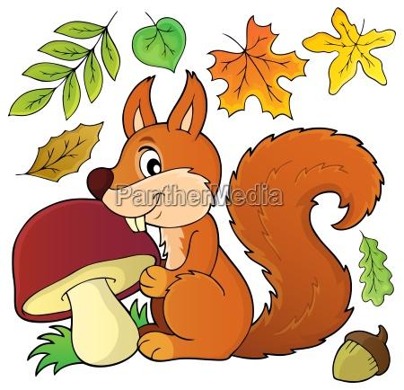 squirrel with mushroom theme image 1