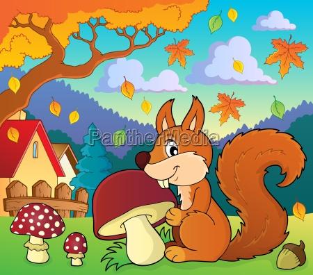 squirrel with mushroom theme image 2