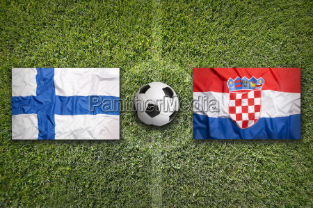 finland vs croatia flags on soccer