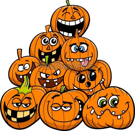 cartoon halloween pumpkins group
