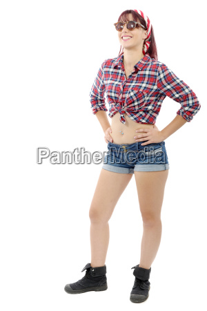 lovely pretty young woman in checkered