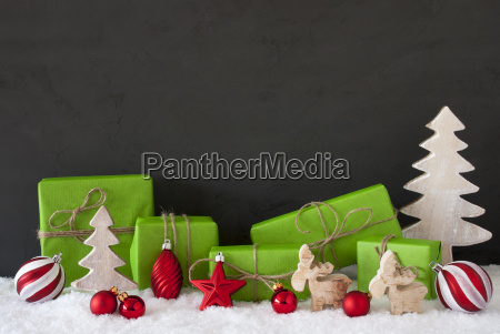 red and green christmas decoration black