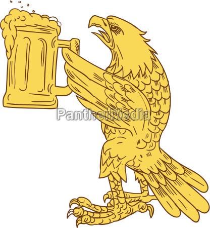 american bald eagle beer stein zeichnung