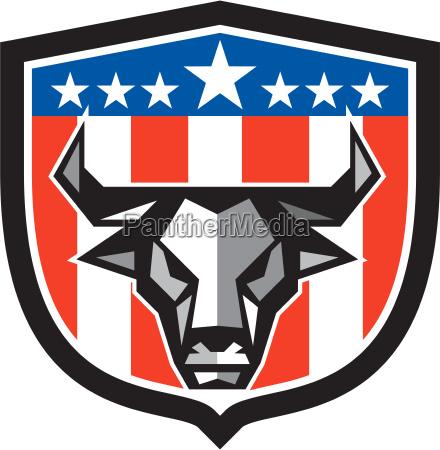 bull cow head usa flag crest
