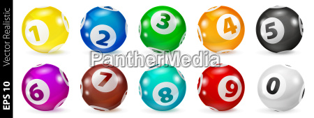 set der lotterie farbige zahlenbaelle 0