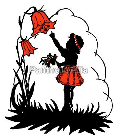 maedchen und eine glockenblume auf weissem