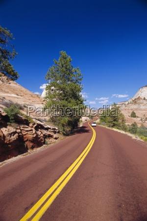 road through zion national park usa