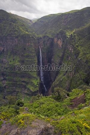 dramatic waterfall near sankaber unesco world