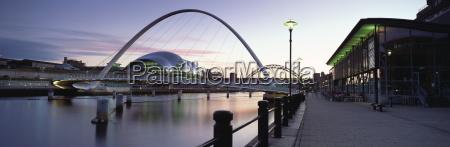 dusk view towards millennium bridge tyne