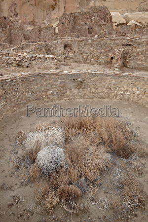 kiva and other structures at pueblo