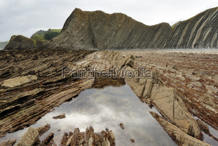 rock formations flysch at low tide