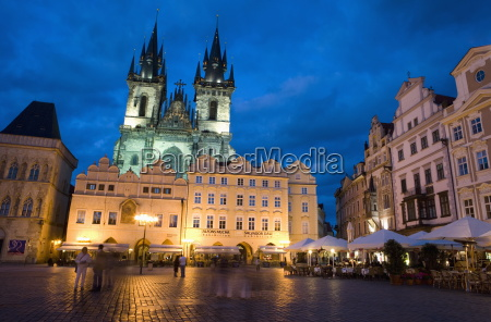 old town square in the evening