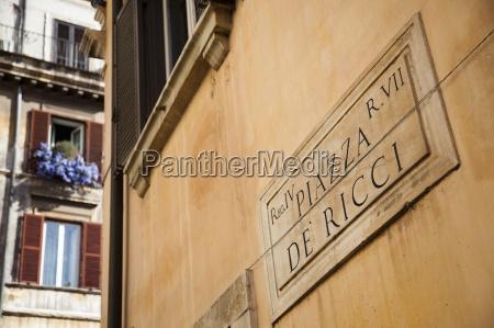 piazza de ricci street sign rome