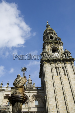 view of santiago cathedral from plaza
