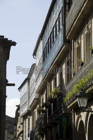glazed balconies in santiago de compostela