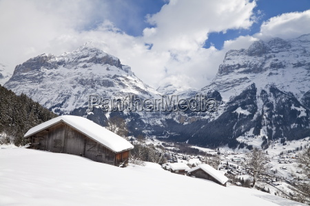 grindelwald and the wetterhorn mountain jungfrau