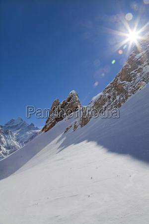 mountain peaks above grindelwald jungfrau region