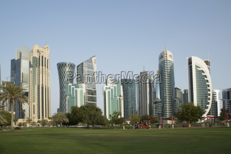 futuristic skyscrapers downtown in doha qatar