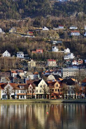 lille lungegard see bergen norwegen skandinavien