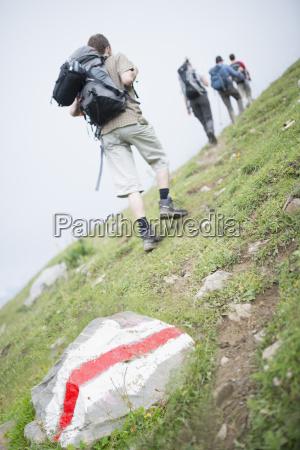 hikers on trail ovronnaz martigny valais